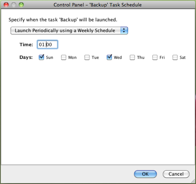 OpenDS Control Panel, scheduling a weekly backup