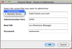 OpenDS Control Panel new connection dialog