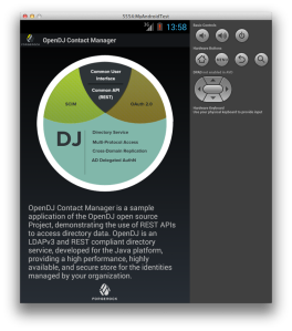 About screen of the OpenDJ Contact Manager Android App