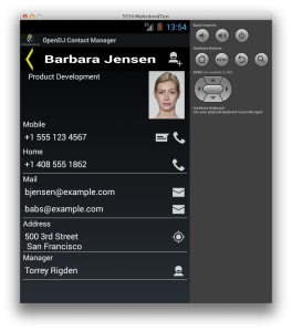 OpenDJ Contact Manager displaying a Contact